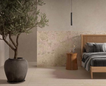 Porcelain stoneware enriches bedroom surfaces with colour and texture
